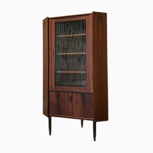 Mid-Century Modern Danish Rosewood Corner Cabinet with Glass Door