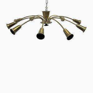 Lámpara de araña vintage de latón, años 60