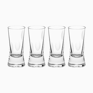 Irish Handmade Crystal Cuttings Series Shot Glasses by Martino Gamper for J. HILL's Standard, Set of 4