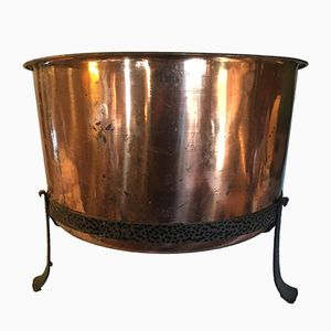Large Vintage Copper Log Bin