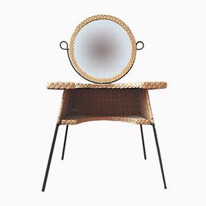 Table Coiffeuse Vintage en Osier et Métal