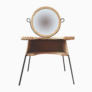 Vintage Wicker and Metal Dressing Table