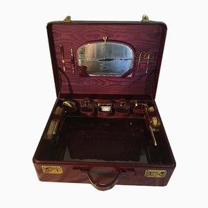 Valigia vintage da viaggio con specchio e articoli da toeletta, anni '50