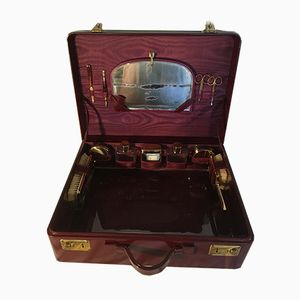 Vintage Travel Suitcase with Mirror and Toiletries, 1950s