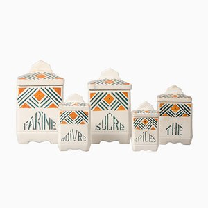 Vasetti da cucina vintage in ceramica, Francia, set di 5