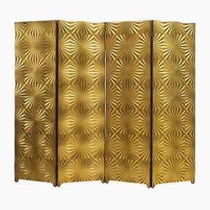 Biombo italiano Mid-Century dorado, años 70