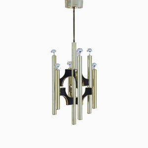 Italian Brass Chandelier by Gaetano Sciolari for Sciolari, 1970s