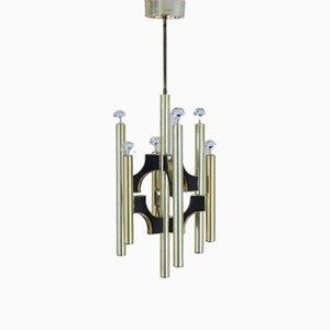 Lámpara de araña italiana de latón de Gaetano Sciolari para Sciolari, años 70