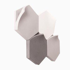 Jarrones de pared Teumsae en gris frío de Extra&ordinary Design. Juego de 4