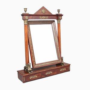 Espejo francés Imperio grande de caoba y ormolú, década de 1820