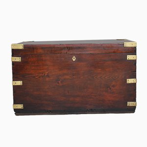 19th-Century Mahogany & Brass Bound Trunk