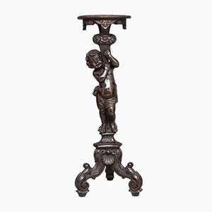 Carved Oak Pedestal, 1870s
