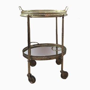 French Oval-Shaped Brass Trolley, 1970s