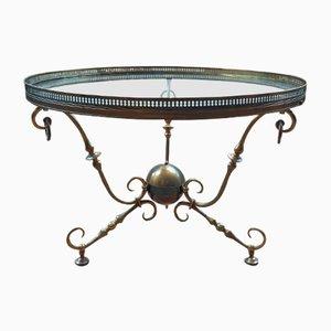 Table Basse Vintage en Bronze et Verre de Petitot