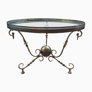 Vintage Bronze & Glass Coffee Table from Petitot