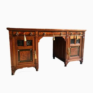 Antique Walnut Twin Pedestal Desk by Bruce Talbert for Gillows of Lancaster