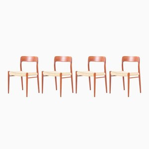 Vintage Modell 75 Stühle aus Teak von Niels Otto (N. O.) Møller, 4er Set