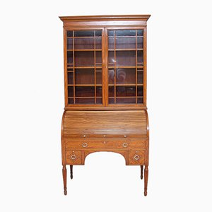 Antique Satinwood Cylinder Bookcase from Edwards & Roberts