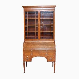 Libreria antica cilindrica in legno satinato di Edward & Roberts