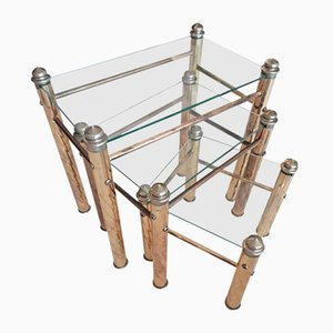Italian Brass & Glass Nesting Side Tables, 1970s, Set of 3