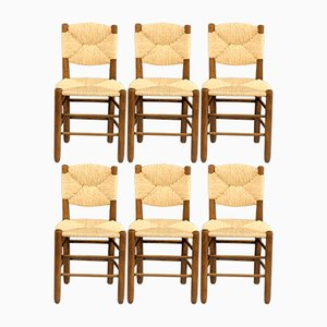 Dining Chairs by Charlotte Perriand for Sentou, 1950s, Set of 6