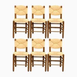 Esszimmerstühle von Charlotte Perriand für Sentou, 1950er, 6er Set