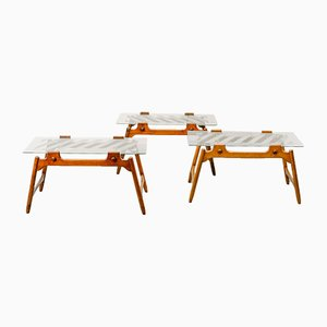 Wood & Glass Coffee Tables, 1950s, Set of 3