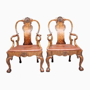 Georgian Style Walnut & Leather Armchairs, 1920s, Set of 2