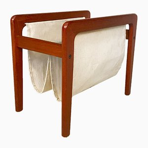 Danish Teak & Linen Magazine Holder, 1960s