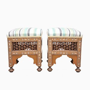 Inlaid Stools, 1920s, Set of 2