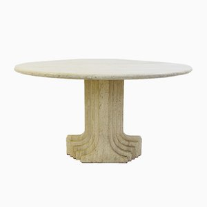 Vintage Italian Travertine Dining Table by Carlo Scarpa