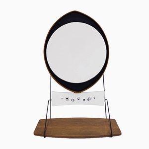 Italienischer Vintage Spiegel in Tropfenform mit Ablage