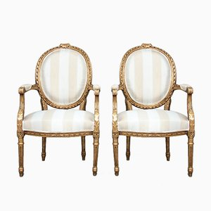 French Giltwood Armchairs, 1890s, Set of 2