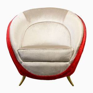 Velvet Lounge Chair by Guglielmo Veronesi for ISA Bergamo, 1950s