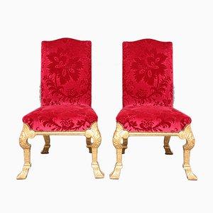 Vergoldete Vintage Holzstühle im George I Stil, 1920er, 2er Set