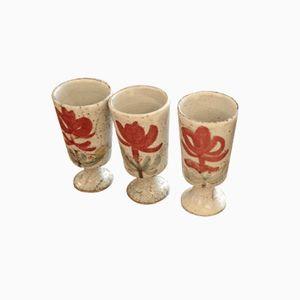 Bicchierini di Gustave Reynaud per Vallauris, anni '50, set di 3