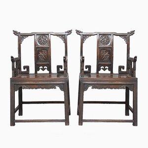 Chinesische Armlehnstühle, 1840er, 2er Set