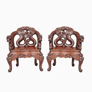 Antique Chinese Carved Chairs, Set of 2