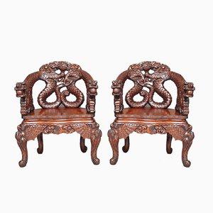 Chaises Sculptées Antiques, Chine, Set de 2