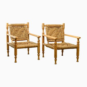 Beech & Sisal Easy Chairs, 1960s, Set of 2