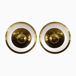 Lámparas vintage de latón y vidrio esmerilado de Luigi Caccia Dominioni para Azucena. Juego de 2