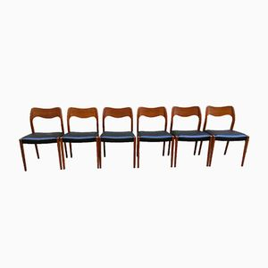 Vintage Model 71 Teak Chairs by Niels O. Moller, Set of 6