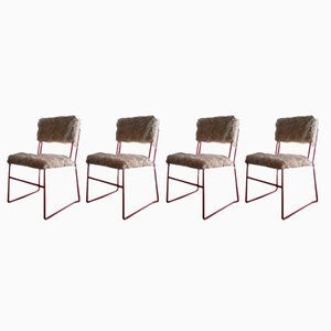 Lacquered Metal Chairs, 1960s, Set of 4
