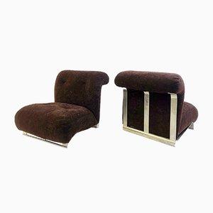 Braune Vintage Samtsessel mit gefärbtem Chromgestell, 2er Set