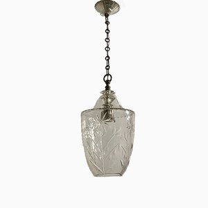 Lampada a sospensione vintage in cristallo