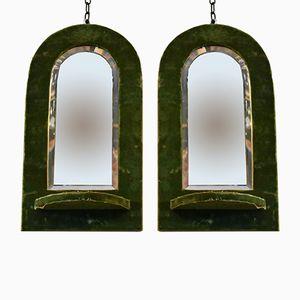 Antique Green Velvet Mirrors, Set of 2