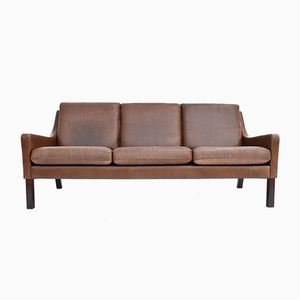 Danish Tan Brown Leather 3-Seater Sofa, 1960s