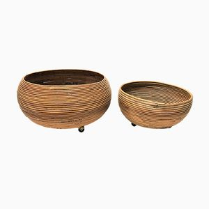 Vintage Bamboo Planters, 1960s, Set of 2