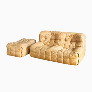 2-Sitzer Vintage Kashima Sofa und Pouf Set von Michel Ducaroy für Ligne Roset
