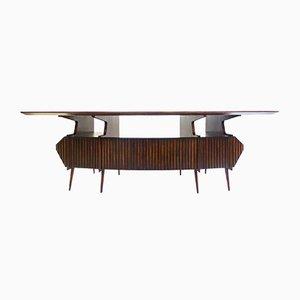 Großer italienischer Schreibtisch aus Palisander mit brauner Glasplatte